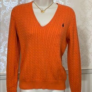 Ralph Lauren Orange V-Neck Cable Knit Sweater